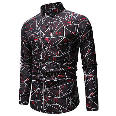 billige Herrers Mode Beklædning-Herre - Galakse / Farveblok / Regnbue Bomuld, Trykt mønster Skjorte Blå XL