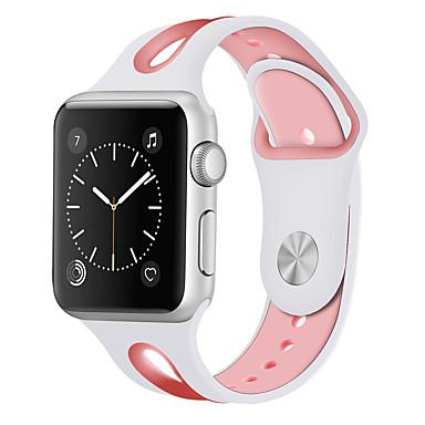 זול שעוני גברים-ג'ל סיליקה צפו בנד רצועה ל Apple Watch Series 4/3/2/1 שחור / לבן / כחול 20cm / 7.9 אינצ'ים 2cm / 0.8 אינצ'ים / 2.2cm / 0.9 אינצ'ים