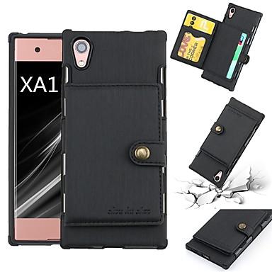 voordelige Hoesjes / covers voor Sony-hoesje Voor Sony Sony Xperia XA1 Kaarthouder / Schokbestendig Achterkant Effen Zacht PU-nahka