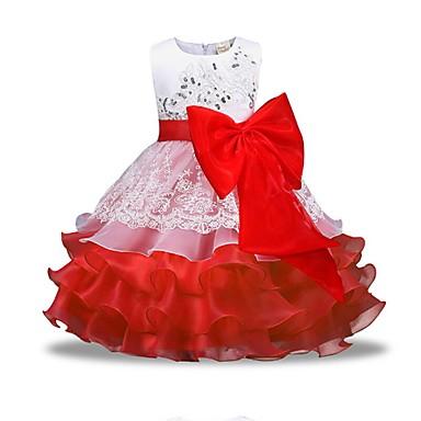 ieftine Haine de Fete-Copii Fete De Bază Zilnic Mată Manșon Lung Rochie Roșu-aprins