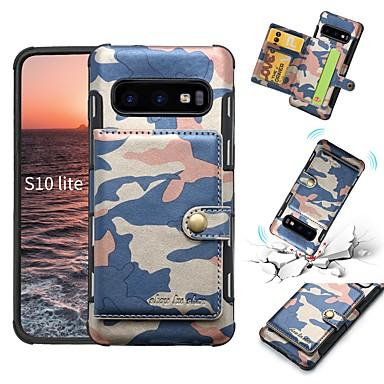 voordelige Galaxy S-serie hoesjes / covers-hoesje Voor Samsung Galaxy Galaxy S10 / Galaxy S10 E Portemonnee / Kaarthouder / Schokbestendig Achterkant Camouflage Kleur Zacht PU-nahka
