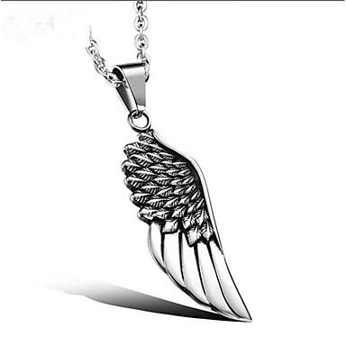 Herre Klassisk Halskædevedhæng Rustfrit stål Angel Wings Mode Sej Sølv 51 cm Halskæder Smykker 1pc Til Gave Daglig