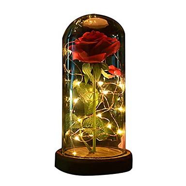 Wonderful 1pc skønhed og dyret rose steg og førte lys med faldne kronblade i LJ-41