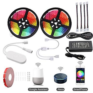 KWB 2x5M Lyssæt / RGB-Lysstriber / Smart Lights 600 lysdioder SMD5050 1 12V 6A adapter / 1Sæt monteringsbeslag / 1 til 2 kabelstik RGB Vandtæt / APP kontrol / Chippable 100-240 V 1set