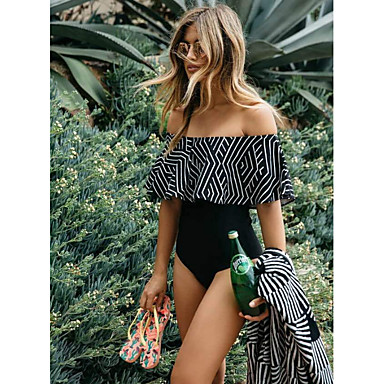 cheap One-Pieces-Women's Black Cheeky One-piece Swimwear - Striped Print M L XL Black / Off Shoulder