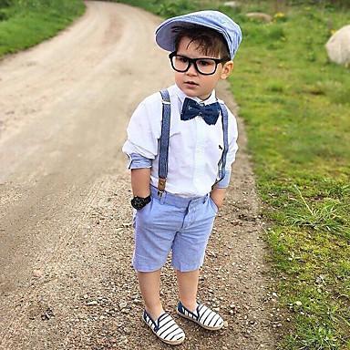 ieftine Haine de Băieți-Copii Copil Băieți Activ De Bază Mată Funde Manșon Lung Bumbac Set Îmbrăcăminte Alb