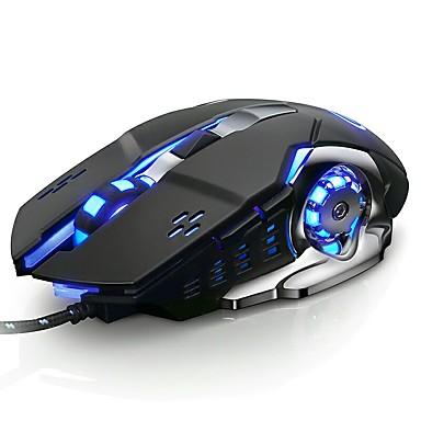LITBest V5 USB-kabel Optisk Gaming Mus / Lydløs mus Ledet vejrtræk 3200 dpi 6 Justerbare DPI niveauer 6 pcs nøgler 6 programmerbare nøgler