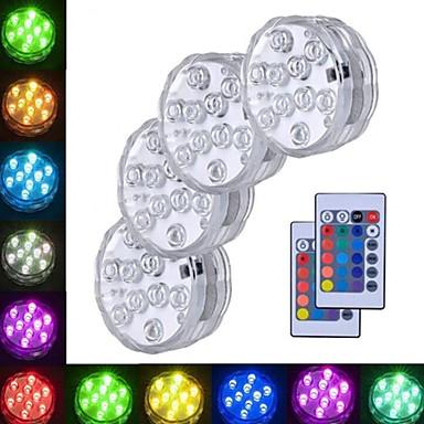 tanie Oświetlenie zewnętrzne-4 szt. 3 W Oświetlenie podwodne Wodoodporny / Zdalnie sterowany / Dekoracyjna RGB 5.5 V Basen / Nadaje się do wazonów i akwariów 10 Koraliki LED