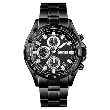 SKMEI Men's Sport Watch Quartz Stainless Steel Black / Silver 30 m Water Resistant / Waterproof Calendar / date / day Stopwatch Analog Classic Fashion - Black Silver Blue