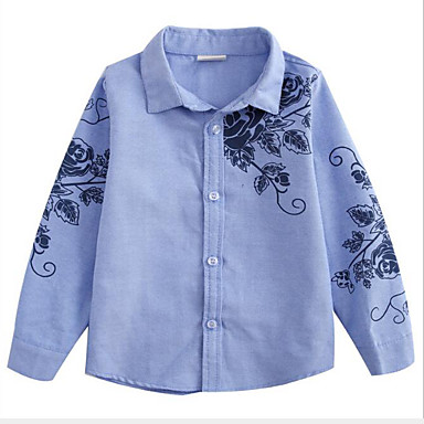 cheap Boys' Tops-Kids Boys' Active Street chic Daily Going out Floral Print Long Sleeve Regular Shirt Blue