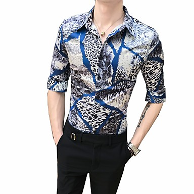 economico Abbigliamento uomo-Camicia Per uomo Fantasia geometrica Colletto classico Blu XL / Taglia piccola