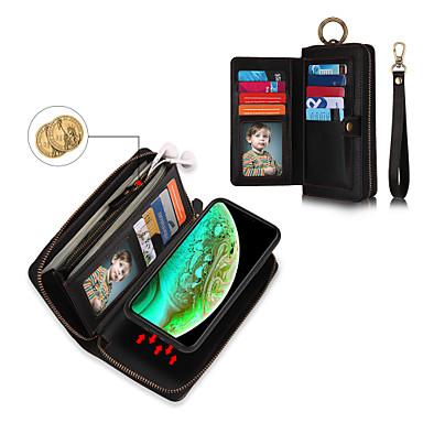 Недорогие Кейсы для iPhone-Кейс для Назначение Apple iPhone XS / iPhone XR / iPhone XS Max Кошелек / Бумажник для карт / Защита от удара Чехол Однотонный Твердый Кожа PU