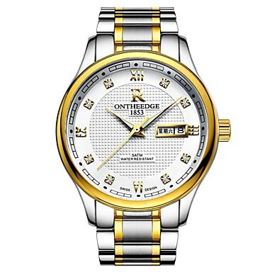 Муж. Нарядные часы Японский Кварцевый Нержавеющая сталь Серебристый металл / Золотистый 30 m Защита от влаги Календарь Секундомер Аналоговый Роскошь Мода -  / Два года