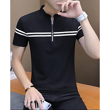 baratos Camiseta de Homen-Homens Polo Sólido Preto XL