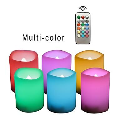 billige LED & Belysning-6 stk led lys rgb + varm knap batteri drevet nem bærbar sikkerhed atmosfære natlamper
