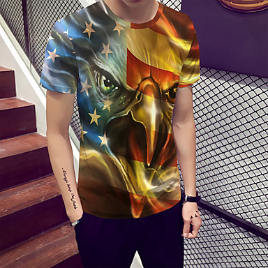 economico Abbigliamento uomo-T-shirt Per uomo Con stampe, Monocolore / Animali Rotonda Arancione XL