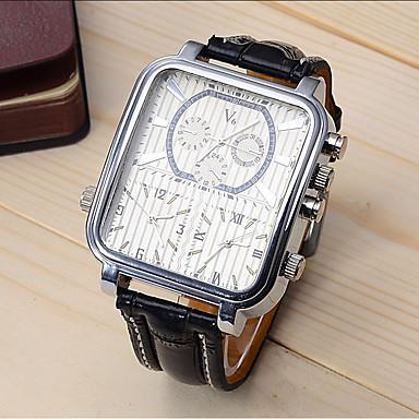 Недорогие Часы на кожаном ремешке-V6 Муж. Спортивные часы Нарядные часы Наручные часы Кварцевый Кожа Черный 30 m Ударопрочный Cool Аналоговый Роскошь Мода маскарадный - Черный Черно-белый Один год Срок службы батареи