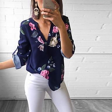 cheap Blouses-Women's Slim Blouse - Floral V Neck Green M