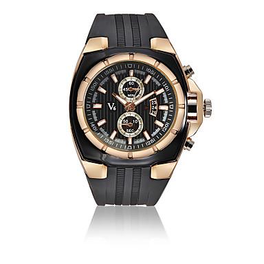 Недорогие Часы на кожаном ремешке-V6 Муж. Спортивные часы Нарядные часы Наручные часы Кварцевый Кожа Черный 30 m Календарь Ударопрочный Аналоговый Роскошь Мода - Черный Серебряный Розовое золото Один год Срок службы батареи