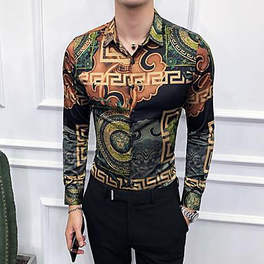 economico Abbigliamento uomo-Camicia - Taglie UE / USA Per uomo Con stampe, Fantasia geometrica / Tribale Verde XL / Manica lunga