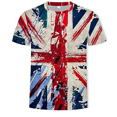 economico Abbigliamento uomo-T-shirt Per uomo Moda città / Militare Con stampe, Monocolore / 3D Rotonda Arcobaleno XL / Manica corta
