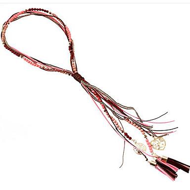 Dame Kvast lang halskæde Harpiks Vintage Boheme Sej Rød Blå 60 cm Halskæder Smykker 1pc Til Gade Ferie