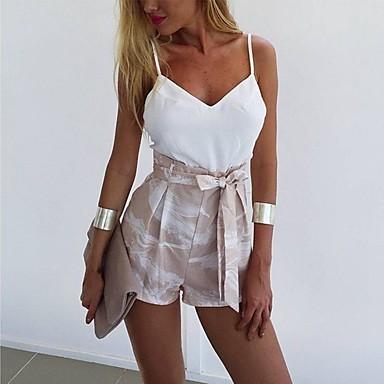 ieftine Pantaloni de Damă-Pentru femei De Bază Larg Picior Larg Pantaloni - Imprimeu Tropical Leaf, Peteci / Imprimeu Bej M L XL
