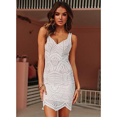 cheap Lace Dresses-Women's Elegant Sheath Dress - Solid Colored White M L XL