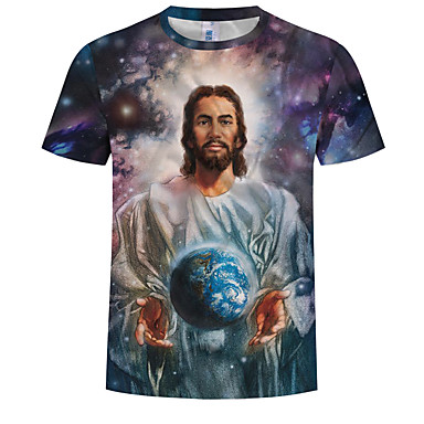 abordables Ropa de Moda Hombres-Hombre Tallas Grandes Estampado - Algodón Camiseta, Escote Redondo 3D / Retrato Azul Piscina XXXXL