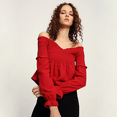 cheap Blouses-Women's Blouse - Solid Colored Red S