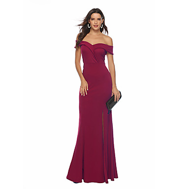 cheap Prom Dresses-Women's Vintage Sophisticated Swing Trumpet / Mermaid Dress - Solid Colored Backless Split Wine L XL XXL
