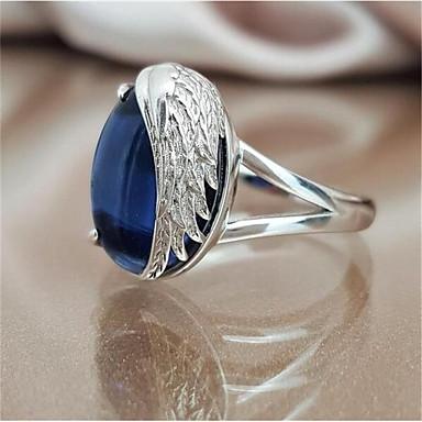 e8f4dd7e3137 abordables Anillo-Mujer Azul Aquamarine Sintético Clásico Anillo Suerte  Elegante Anillos de Moda Joyas Azul
