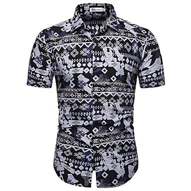 baratos Roupa de Homem Moderna-Homens Tamanho Europeu / Americano Camisa Social Estampado, Floral / Geométrica / Gráfico Algodão Preto XL