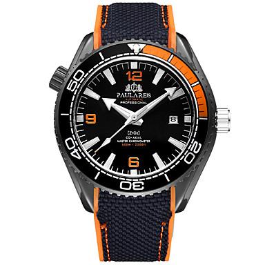 Χαμηλού Κόστους Ανδρικά ρολόγια-Ανδρικά μηχανικό ρολόι Αυτόματο κούρδισμα καουτσούκ Μαύρο 50 m Ανθεκτικό στο Νερό Ημερολόγιο Νυχτερινή λάμψη Αναλογικό Μοντέρνα Πολύχρωμα - Πορτοκαλοκόκκινο Μπλε Ροζ