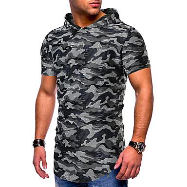 billige Herrers Mode Beklædning-Herre - camouflage Trykt mønster T-shirt Blå L