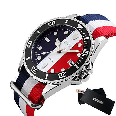 SKMEI رجالي ساعة رياضية ياباني كوارتز ياباني نايلون الأبيض / أزرق / أحمر 30 m مقاوم للماء رزنامه ساعة كاجوال مماثل الخارج موضة - أحمر أزرق أزرق فاتح