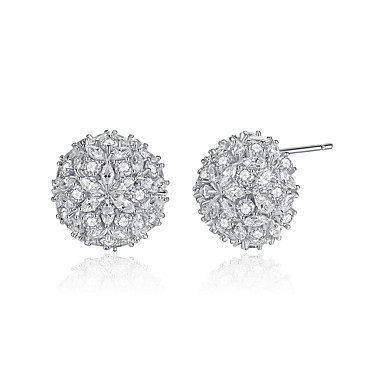 Gnzoe Jewelry Women White Gold Plated Stud Earring 3-Prong White Cubic Zirconia Round Square Oval 20.5x15.5MM