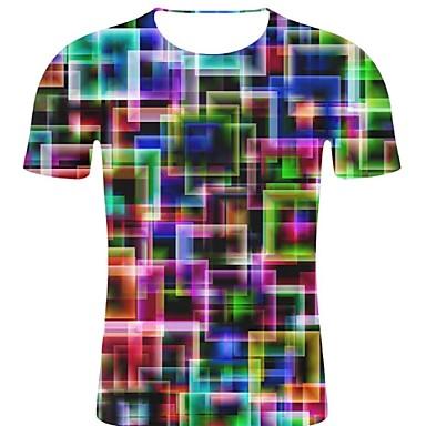 economico Abbigliamento uomo-T-shirt - Taglie forti Per uomo Rock / Esagerato Con stampe, A pois / 3D / Pop art Rotonda - Cotone Arcobaleno XXL