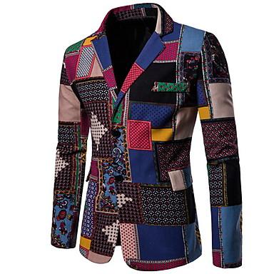 economico Abbigliamento uomo-Per uomo Giacca, Monocolore Bavero classico Poliestere Arcobaleno XXL / XXXL / XXXXL