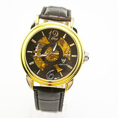 Недорогие Часы на кожаном ремешке-Муж. Механические часы Механические, с ручным заводом Кожа Черный Повседневные часы Аналоговый На каждый день На открытом воздухе - Золотой + черный