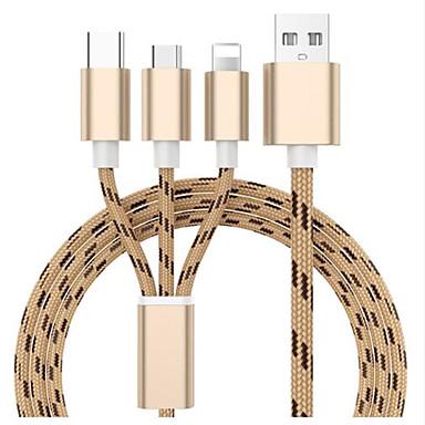 preiswerte Kabel & Adapter fürs Handy-Micro-USB Kabel 1.3m (4.3Ft) Alles in einem / Geflochten Nylon USB-Kabeladapter Für Samsung / Huawei / Xiaomi