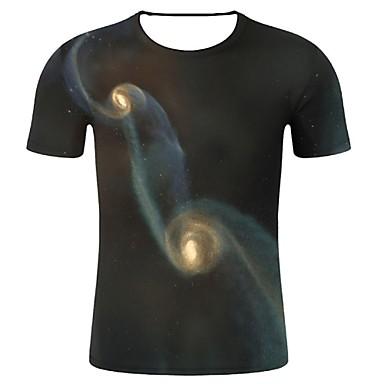 economico Abbigliamento uomo-T-shirt - Taglie forti Per uomo Con stampe, Cielo stellato / 3D / Pop art Rotonda - Cotone Nero XXL