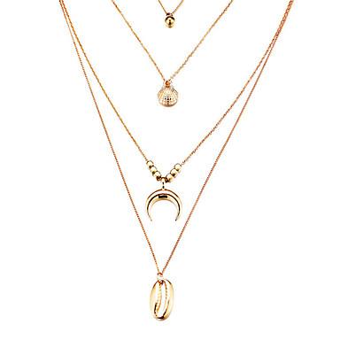 Pentru femei Coliere cu Pandativ Coliere Layered Multistratificat Scoică Boem Modă Boho Argilă Placat Auriu Auriu Argintiu 40 cm Coliere Bijuterii 1 buc Pentru Cadou Concediu