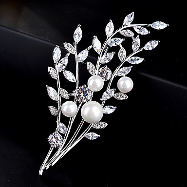 278af3b87 cheap Brooches-Women's AAA Cubic Zirconia Brooches Stylish Simple  Pearl Brooch