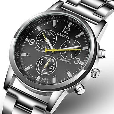 Недорогие Часы на металлическом ремешке-Муж. Нарядные часы Кварцевый Нержавеющая сталь Серебристый металл Повседневные часы Аналоговый Мода - Белый Черный Один год Срок службы батареи