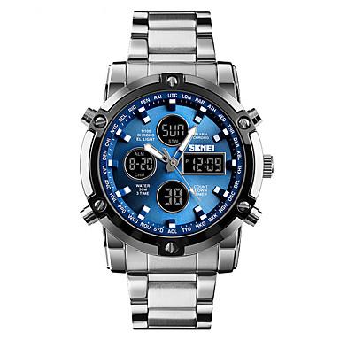 Χαμηλού Κόστους Ανδρικά ρολόγια-SKMEI Ανδρικά Ψηφιακό ρολόι Ψηφιακό Ανοξείδωτο Ατσάλι Μαύρο / Ασημί 30 m Ανθεκτικό στο Νερό Συναγερμός Ημερολόγιο Αναλογικό-Ψηφιακό Καθημερινό Μοντέρνα - Ασημί Ασημί+Μπλε Ασημί / Μαύρο