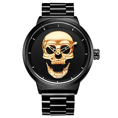 Недорогие Часы на металлическом ремешке-HANNAH MARTIN Муж. электронные часы Кварцевый Нержавеющая сталь Черный 30 m Cool Аналоговый Череп - Золотой Черный Один год Срок службы батареи