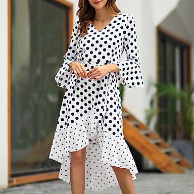 cheap Midi Dresses-Women's Sophisticated Elegant Trumpet / Mermaid Dress - Polka Dot Ruffle Print White Black Red M L XL