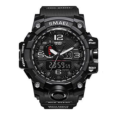 Χαμηλού Κόστους Ανδρικά ρολόγια-SMAEL Ανδρικά Αθλητικό Ρολόι Στρατιωτικό Ρολόι Ψηφιακό ρολόι Ιαπωνικά Ψηφιακή Συνθετικό δέρμα με επένδυση σιλικόνη Μαύρο / Κόκκινο / Πορτοκαλί 50 m Ανθεκτικό στο Νερό Ημερολόγιο Χρονογράφος