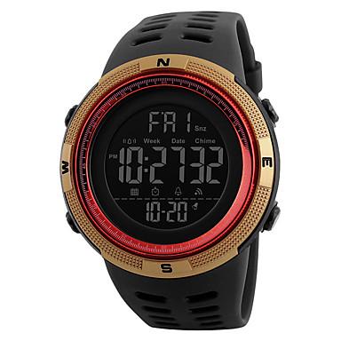 billige Herreure-SKMEI Herre Digital Watch Digital Silikone Sort 50 m Vandafvisende Kalender Stopur Digital Afslappet Udendørs - Grøn Sort / Blå Guld / Rød